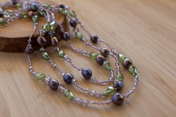 "59"" Amethyst Colored Pearl & Crystal Necklace"