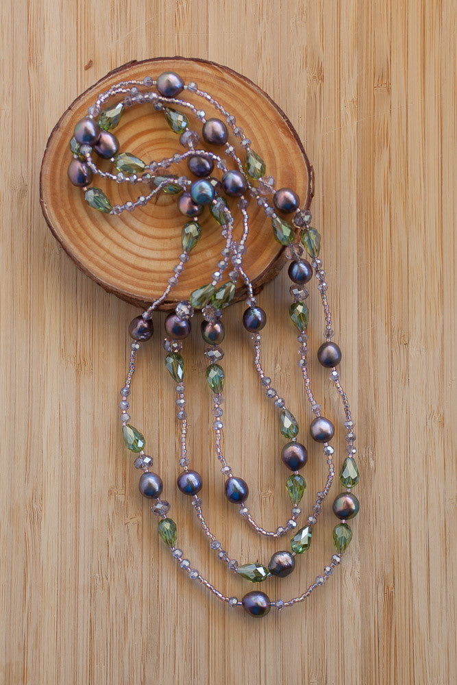 "59"" Long Amethyst Colored Pearl & Green Crystal Beaded Necklace"