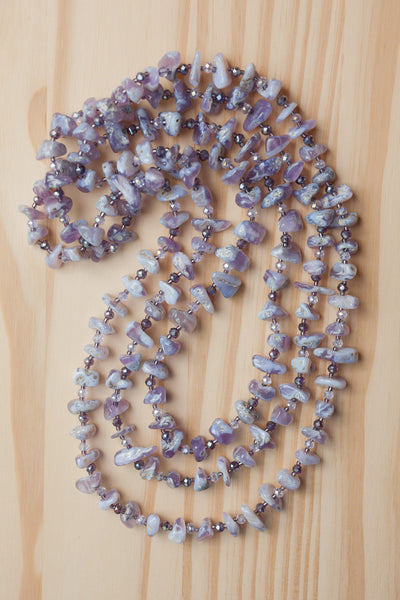 "60"" Extra Long Wraparound Lavender Chalcedony Beaded Necklace with Crystal Beads"