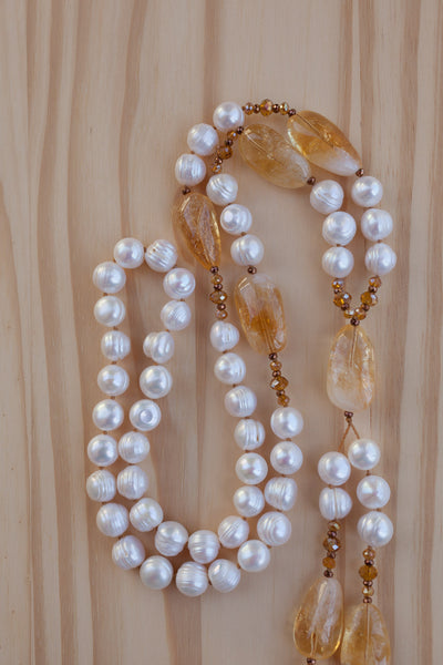"30"" Long White Freshwater Pearl & Citrine Beaded Dangle Necklace"