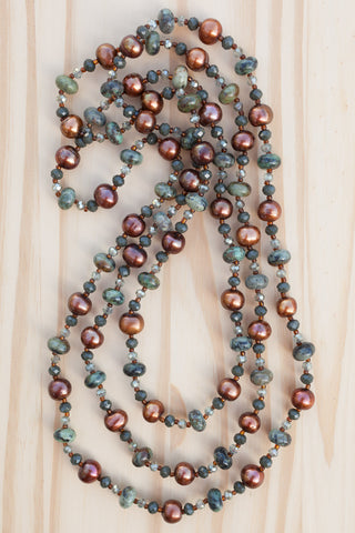 extra long african turquoise beaded necklace with brown freshwater pearls and crystal beads