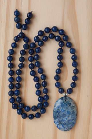 "28"" Long Blue Ammonite Fossil Pendant Necklace with Dark Denim Blue Agate Beads"