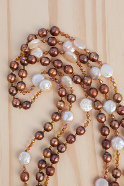 "60"" Extra Long Beaded Necklace with Brown, & Pale Peach Pearls & Crystal Beads"