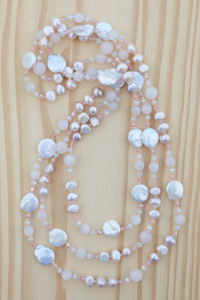 "66"" Extra Long Beaded White Coin Pearl Necklace with Rose Quartz & Crystal Beads"
