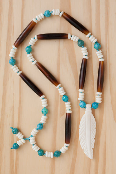 "28"" Long Bone Feather Necklace with Brown Horn & Turquoise Beads"
