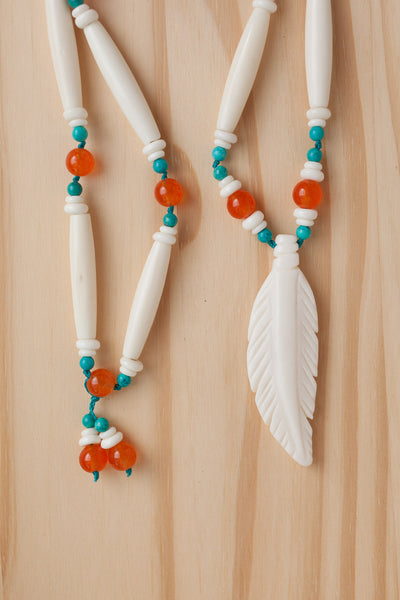 "30"" Long Bone Feather Pendant Necklace with Orange & Turquoise Beads"
