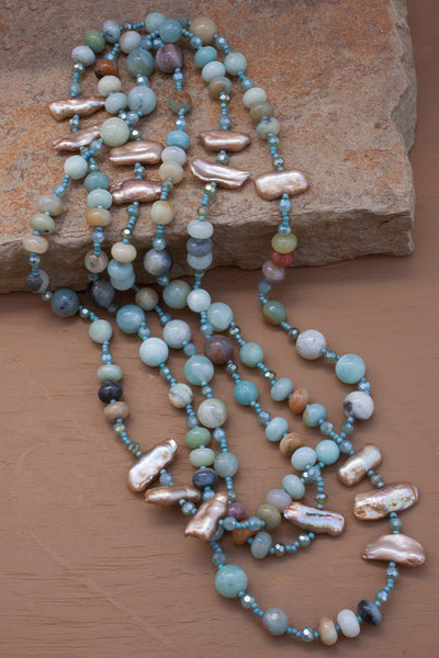 "60"" Amazonite, Pearl & Crystal Necklace"