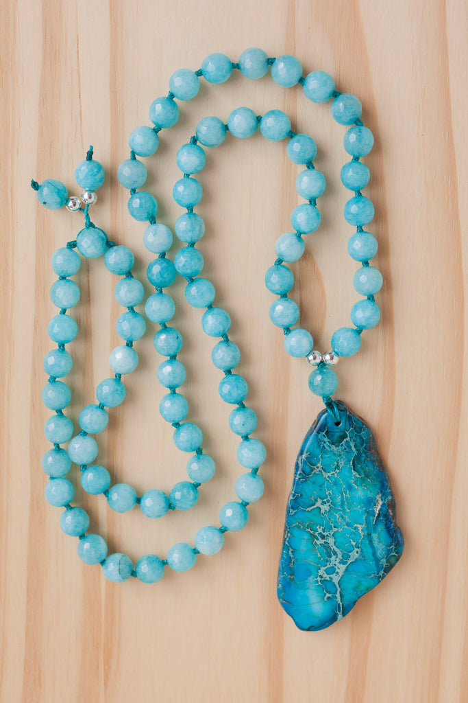 "28"" Long Ocean Blue Sea Sediment Jasper Pendant Necklace with Agate Beads"