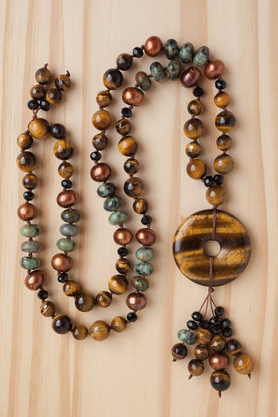 "28"" Long Tiger Eye Donut Pendant Necklace with Tiger Eye, Pearl & Turquoise Beads"