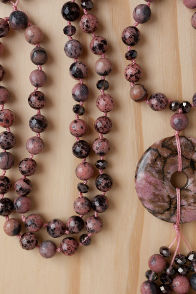 "28"" Long Rhodonite Donut Necklace with Faceted Rhodonite Beads"