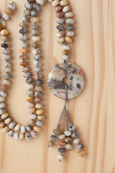 "28"" Long Crazy Lace Agate Donut Necklace with Agate Rondelle Beads"