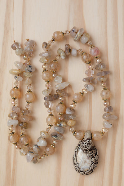 "29"" Long Jasper and Clay Pendant Necklace with Rutilated Quartz & Crystal Beads"
