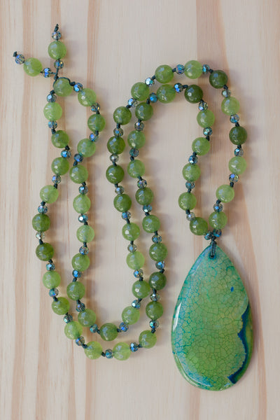 "28"" Long Green Dragon Vein Agate Pendant Necklace with Green Agate & Crystal Beads"