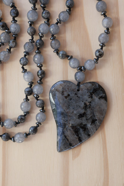 "28"" Long Hand Knotted Larvikite Heart Necklace with Grey Agate & Hematite Beads"