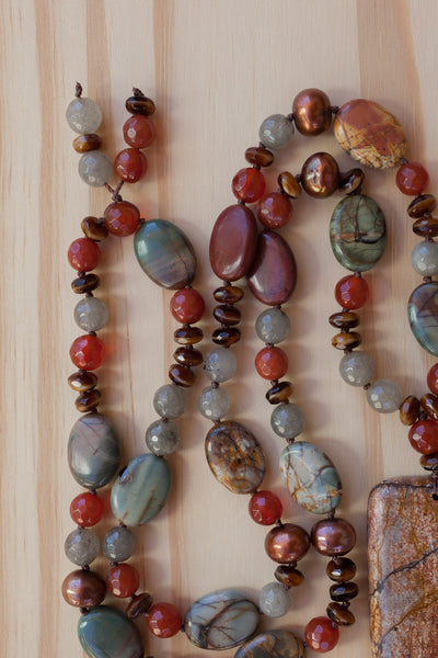 "28"" Long Picasso Jasper Oblong Pendant Necklace with Carnelian & Pearl Beads"