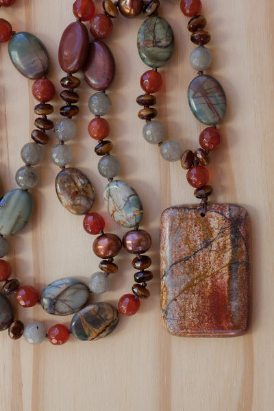 Oblong picasso jasper hand knotted necklace with carnelian jasper and pearl beads