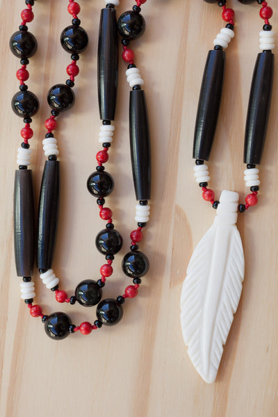 "30"" Long White Bone Feather Necklace with Black Rainbow Obsidian & Red Bamboo Coral Beads"