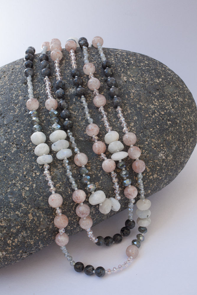 "63"" Cherry Quartz, Labradorite, Moonstone & Crystal Necklace"