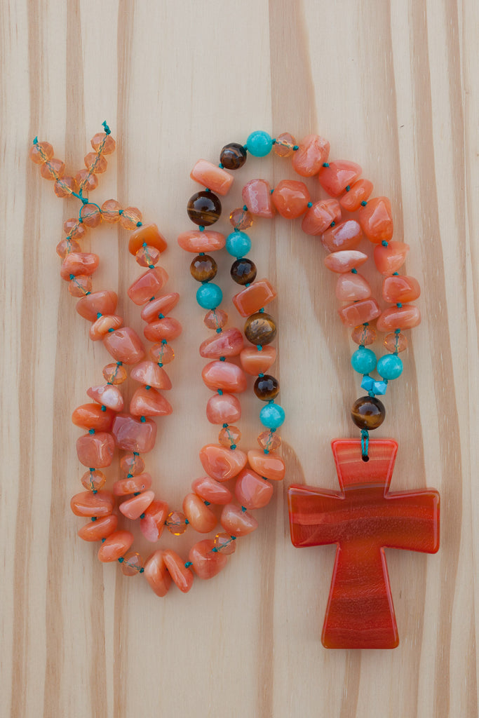 Big bold orange agate cross necklace with agate tumbled chip beads, tiger eye, blue dyed jade and crystal beads