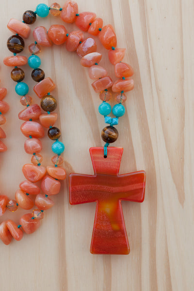 "28"" Long Hand Knotted Orange Cross Beaded Necklace with Agate, Jade & Tiger Eye Beads"