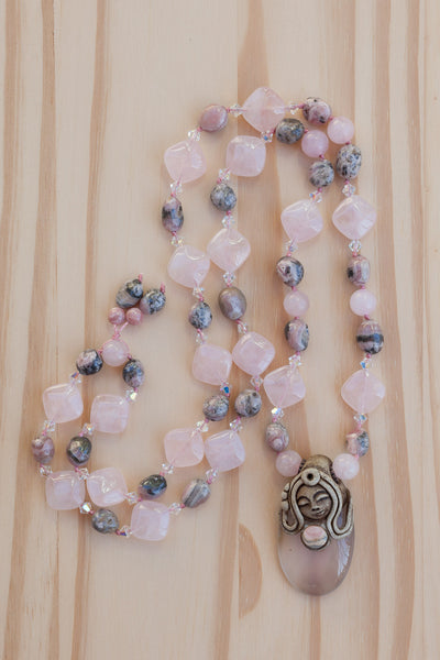 "28"" Long Polymer Clay Pendant Necklace with Rose Quartz, Rhodonite & Swarovski Crystal Beads"