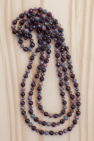 dark plum extra long agate necklace with rainbow metallic crystal beads