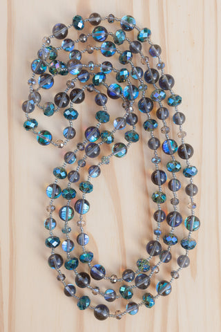 "60"" Extra Long Wraparound Iridescent Dark Blue Crystal Necklace"