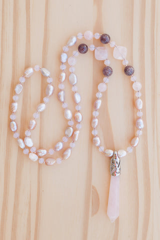 "28"" Long Rose Quartz Pendulum Necklace with Pearl & Crystal Beads"