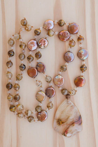 "28"" Long Volcano Quartz Pendant Necklace with Coin Pearl & Crystal Beads"
