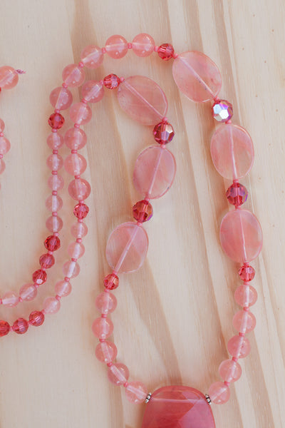 "28"" Long Cherry Quartz Pendant Necklace with Quartz & Crystal Beads"
