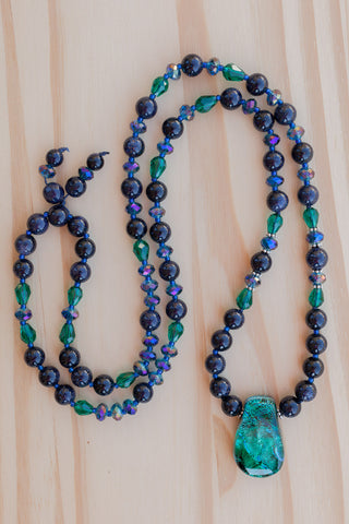 "28"" Long Emerald Green Dichroic Pendant Necklace with Blue Sandstone & Crystal Beads"