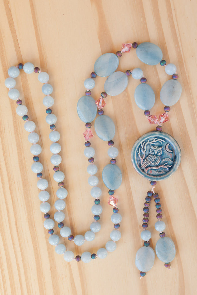"30"" Long Blue Ceramic Owl Pendant Necklace with Blue Jade, Crystal & Druzy Beads"