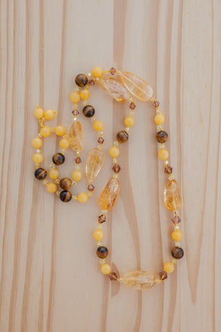 "32"" Long Citrine, Yellow Jade & Tiger Eye Beaded Necklace"