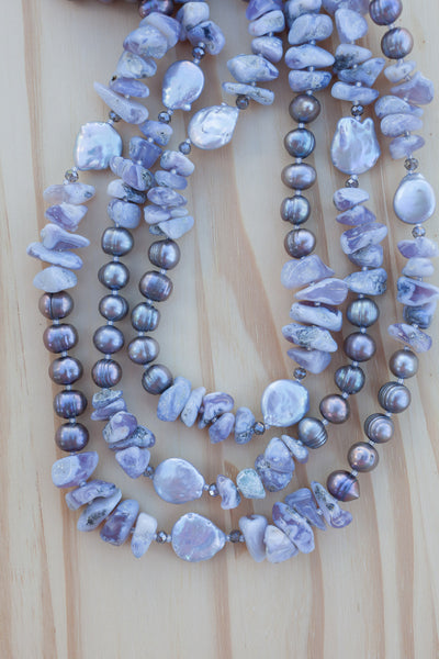 "60"" Extra Long Beaded Lavender Chalcedony and Pearl Necklace with Crystal Beads"