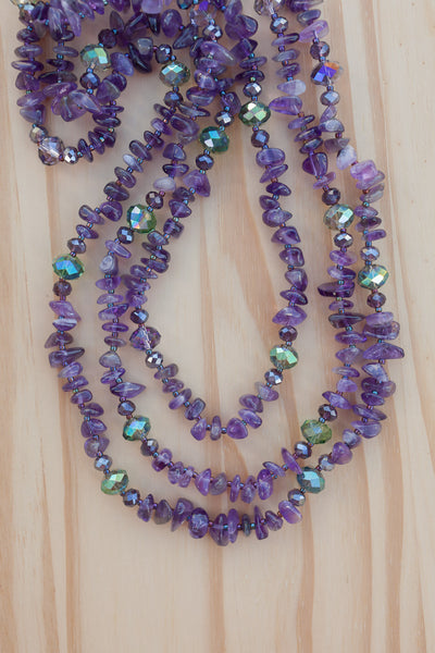"60"" Extra Long Beaded Amethyst Chip Necklace with Crystal Beads"
