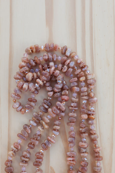 "60"" Extra Long Sunstone Tumbled Chip Bead Necklace with Crystal Beads"