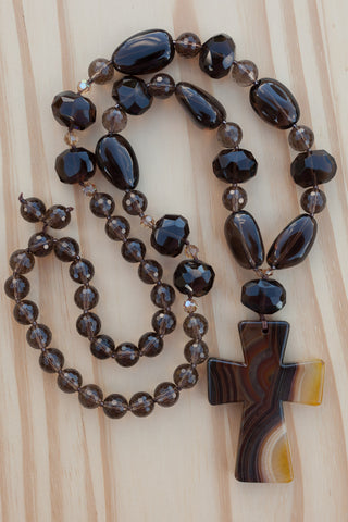 "28"" Long Brown Stripes Agate Cross Necklace with Smoky Quartz & Crystal Beads"