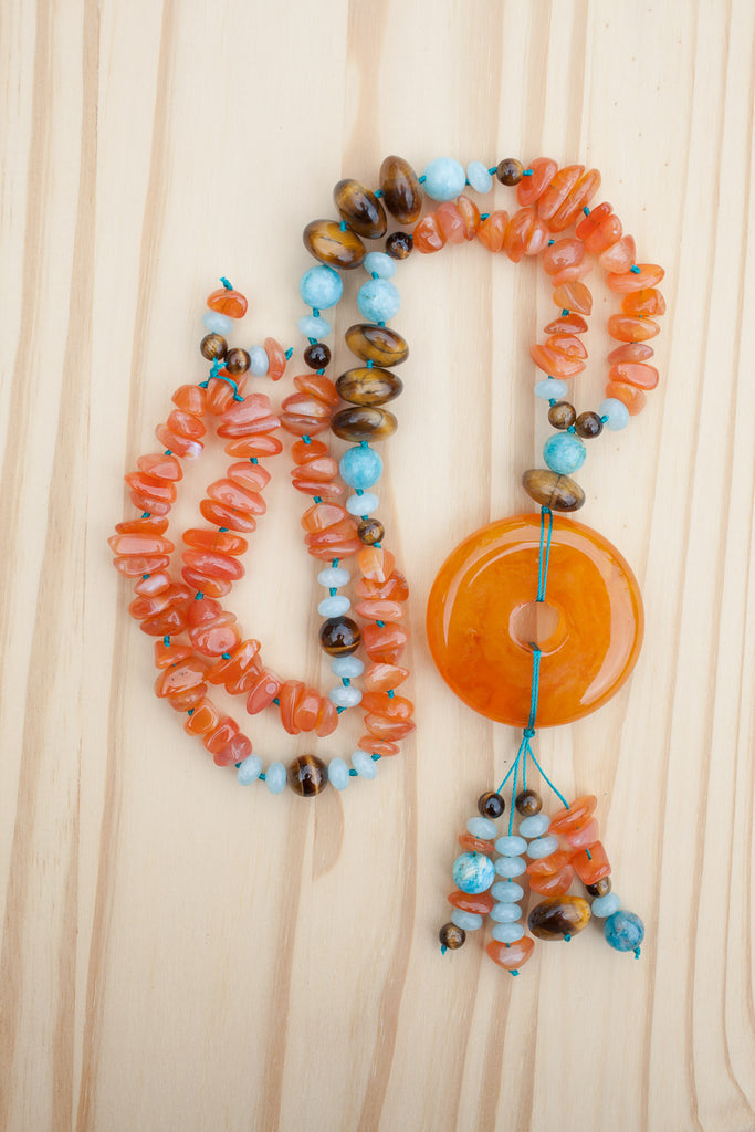 "28"" Long Orange Donut Beaded Necklace with Agate, Quartz & Tiger Eye Beads"