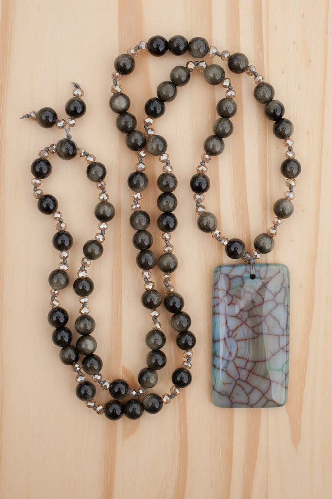 "30"" Long Beaded Dragon Vein Agate Pendant Necklace with Rainbow Obsidian & Crystal Beads"