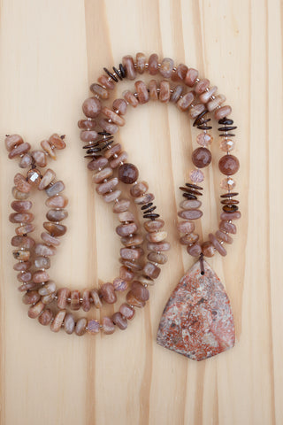 "28"" Long Ayaka Agate Beaded Pendant Necklace with Sunstone, Shell & Agate Beads"