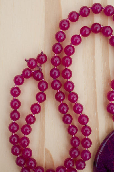 "28"" Fuchsia Rose Agate Beaded Pendant Necklace with Rose Jade Beads"