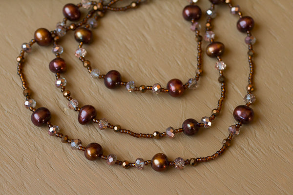 "60"" Chocolate Freshwater Pearl & Crystal Necklace"
