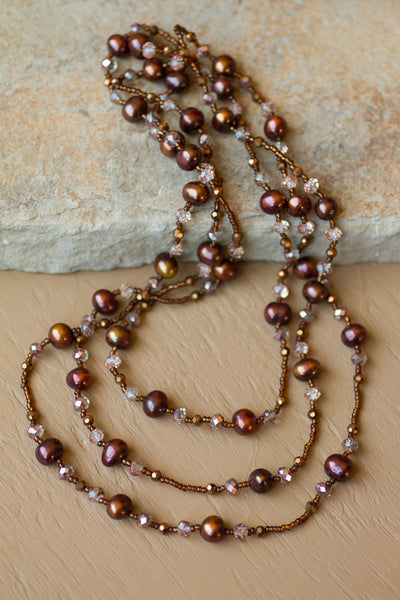 "60"" Long Chocolate Brown Freshwater Pearl & Crystal Beaded Necklace"