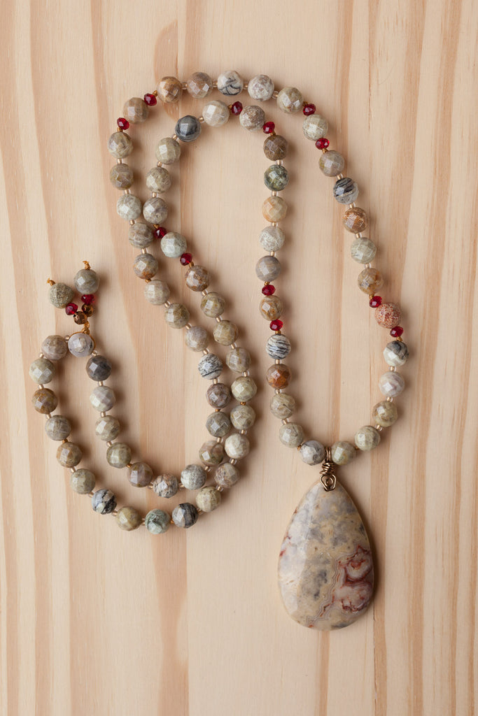 "28"" Long Beaded Crazy Lace Agate Pendant Necklace with Faceted Agate & Crystal Beads"