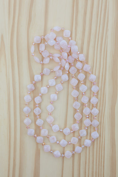 "60"" Extra Long Beaded Rose Quartz & Crystal Necklace"