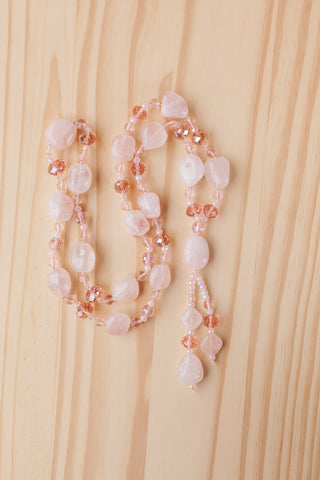 "28"" Long Rose Quartz Nugget Beaded Necklace with Pink Crystal Beads"