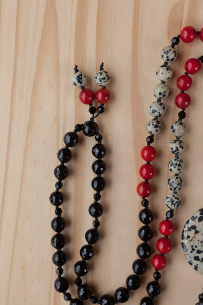 "28"" Long Beaded Dalmatian Jasper Donut Necklace with Coral & Onyx Beads"