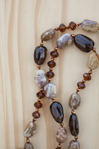 "30"" Long Shades of Brown Picture Jasper, Smoky Quartz & Crystal Necklace"