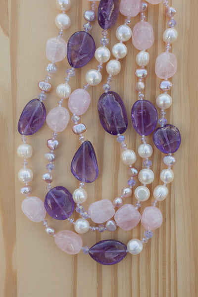 "55"" Extra Long Amethyst, Rose Quartz, Pearl & Crystal Beaded Necklace"