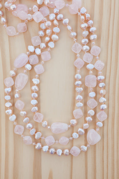 "66"" Extra Long Beaded Necklace with Rose Quartz, Freshwater Pearls & Crystal Beads"